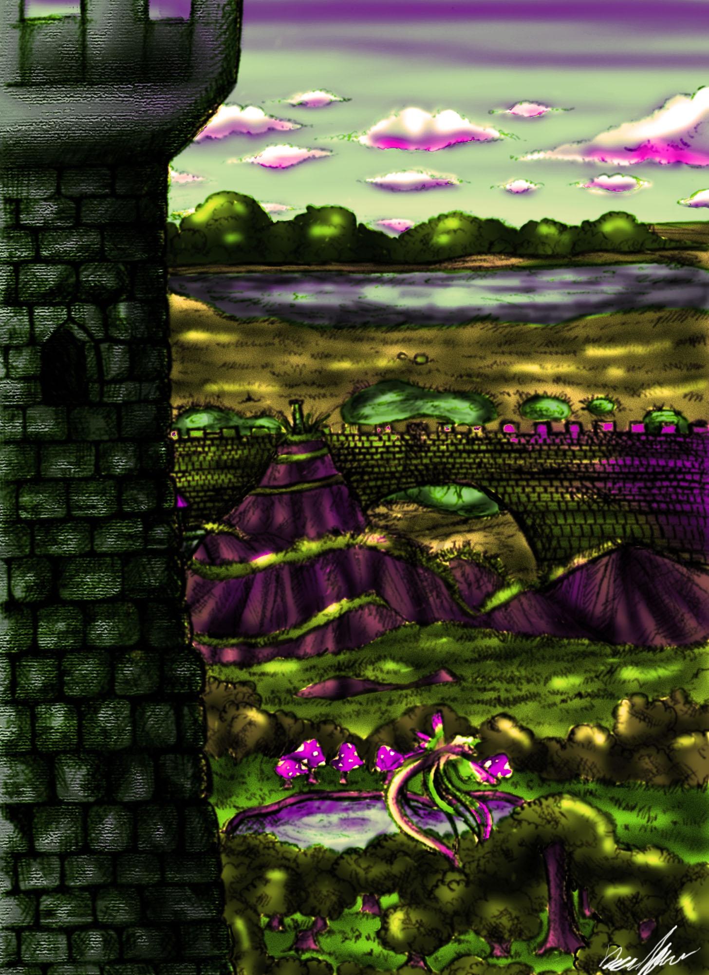 Castle Scenery Drawing my Fantasy Castle Scenery