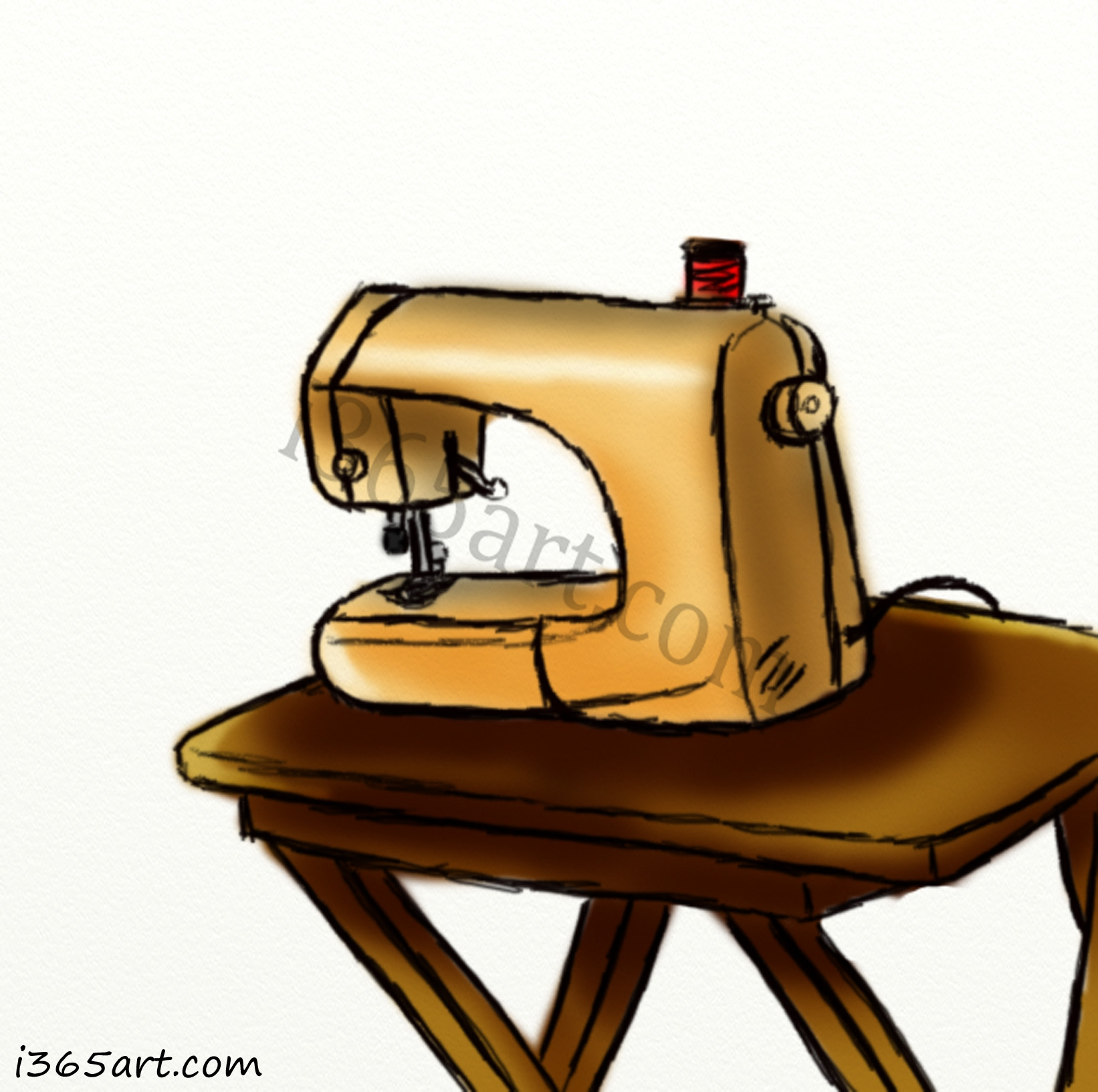 jul 16 Day #160 Sewing Machine Sketch