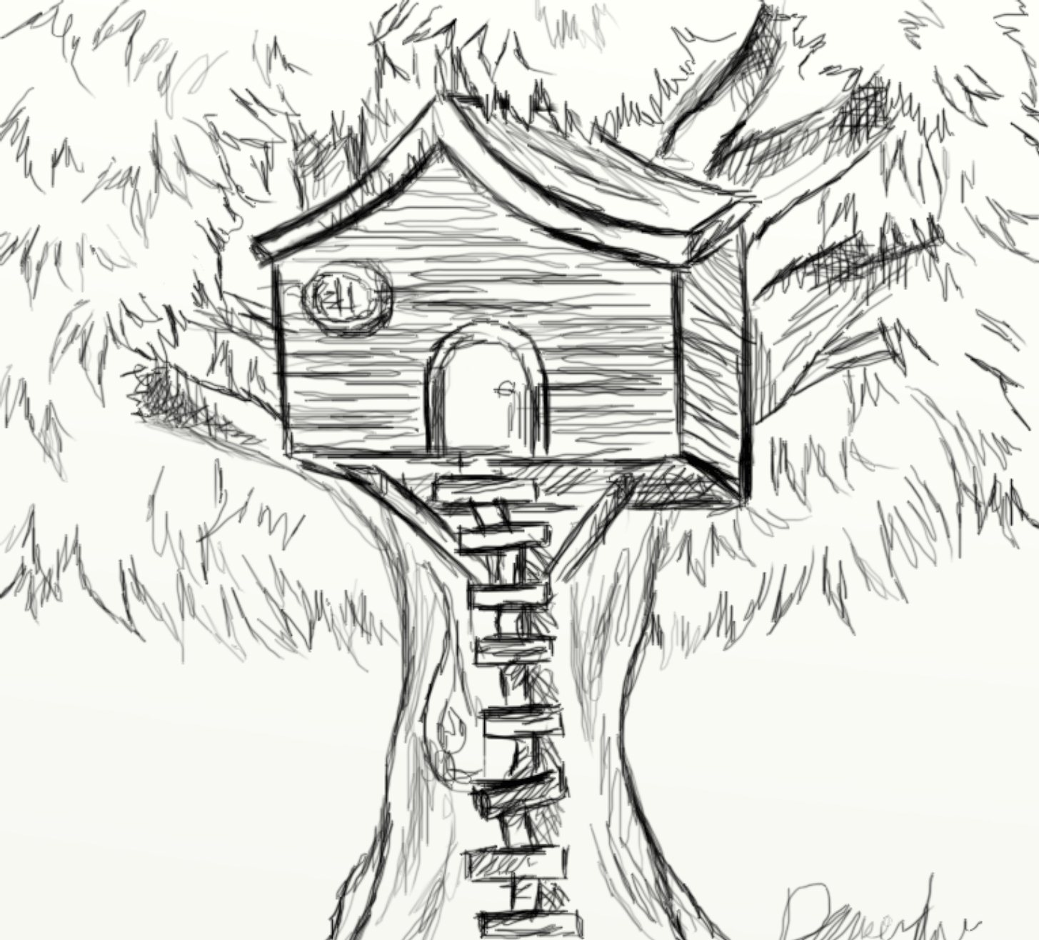 Tree House Drawing submited images