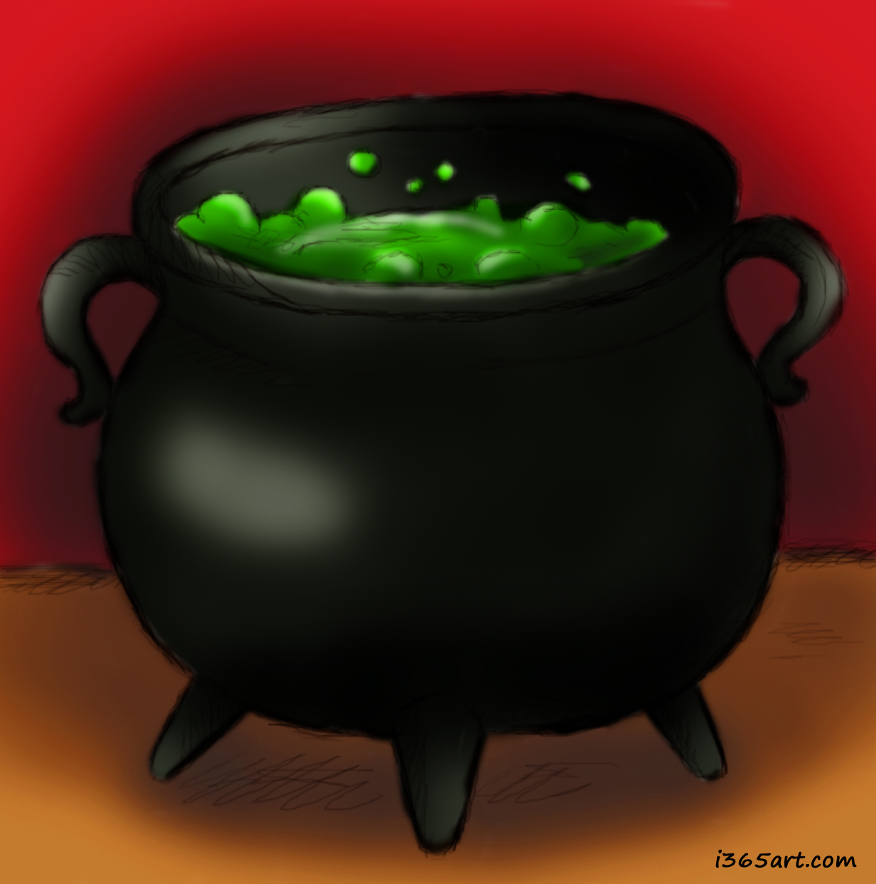 Day #210 Haunted Cauldron Illustration | I 365 Art