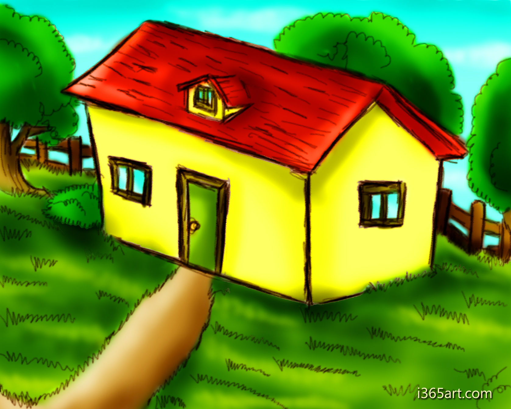 Kids House Drawing Drawing For Kids Scenery With