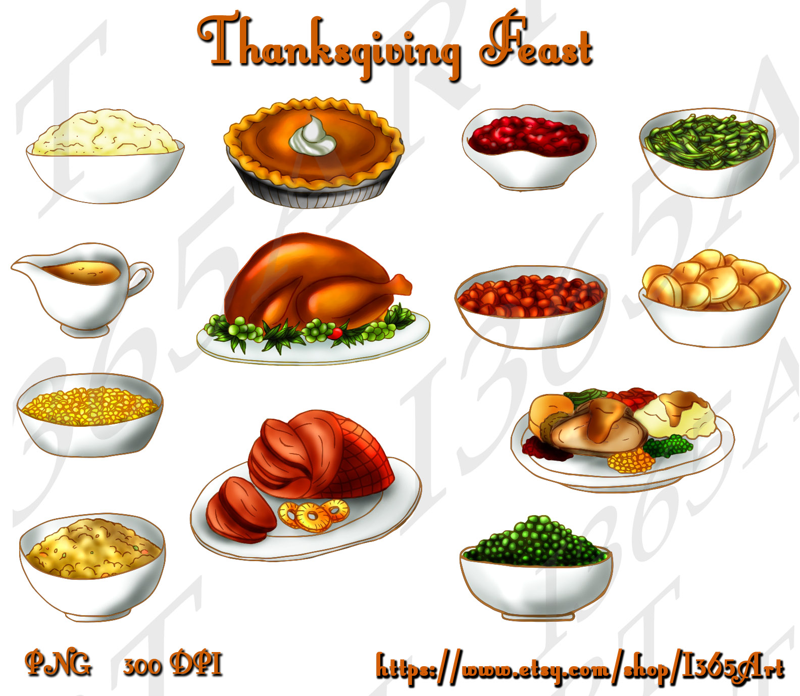 Thanksgiving Feast Clipart Pumpkin Pie Turkey Cranberry