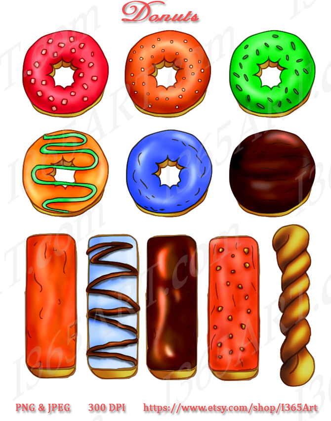 Cute Donuts Clip Art Assorted donuts clipart