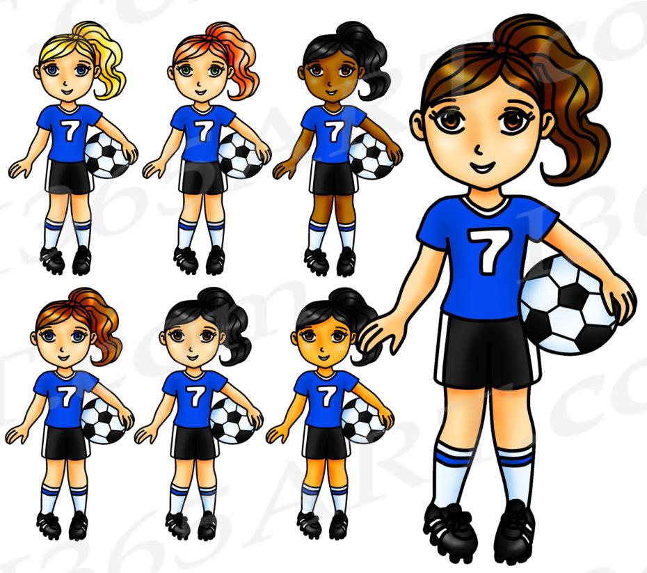 Blue Soccer Girl Clipart