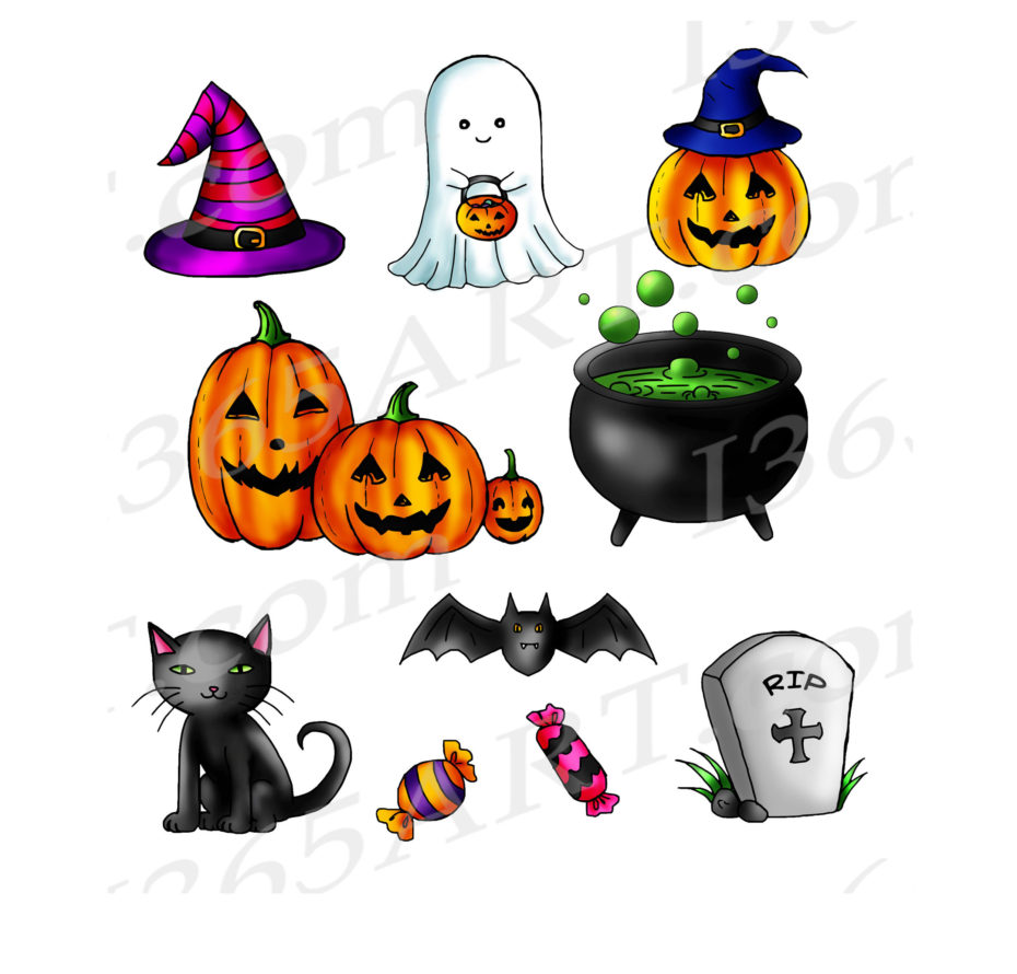 cute halloween clipart bundle, kid's halloween graphics, commercial