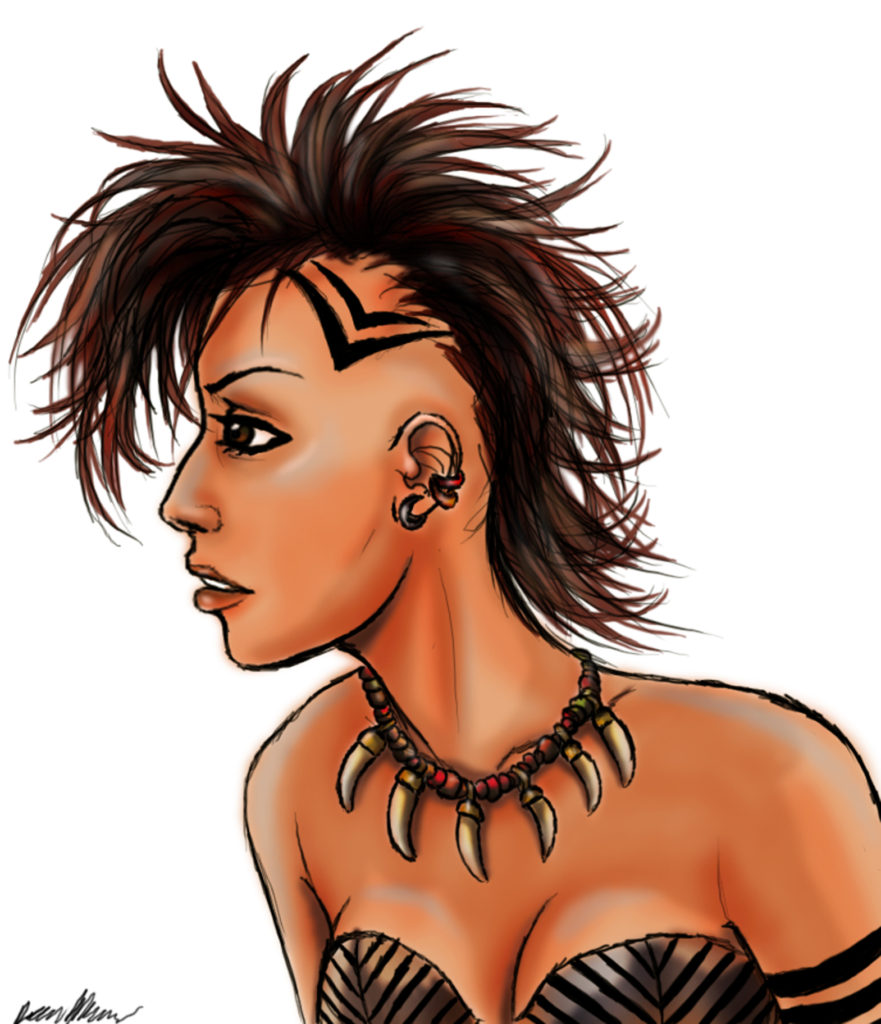 Mohawk woman drawing