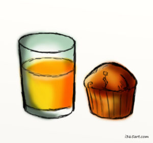orange juice and a muffin
