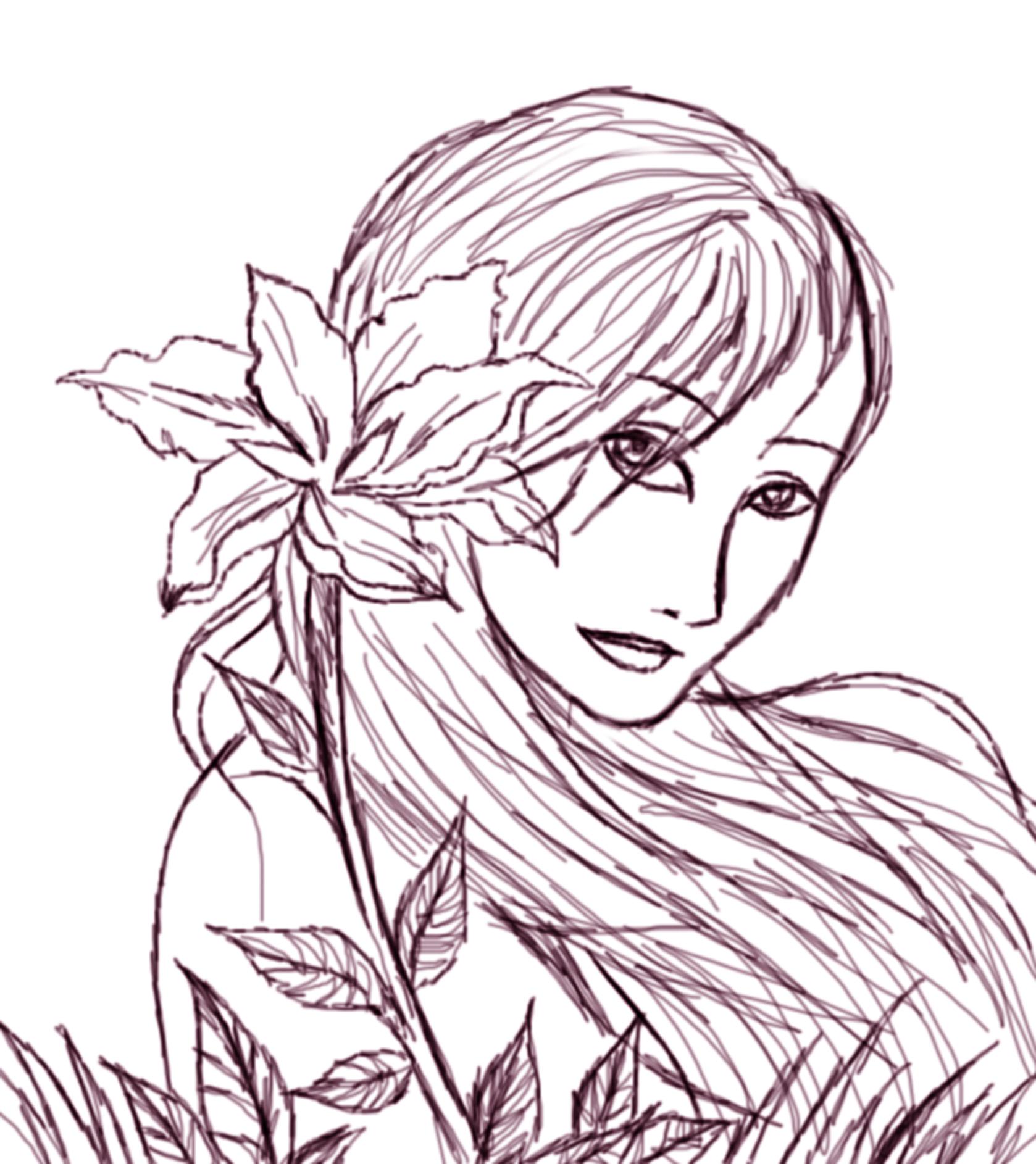 girl behind flowers