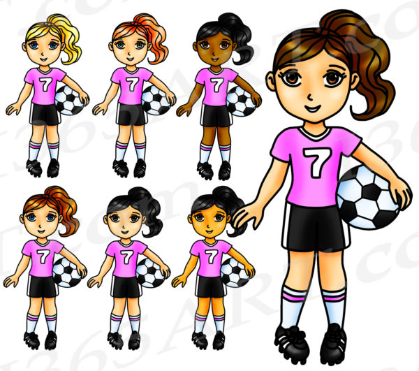 Pink Soccer Girl Clipart