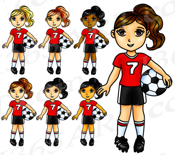 Red Soccer Girl Clipart