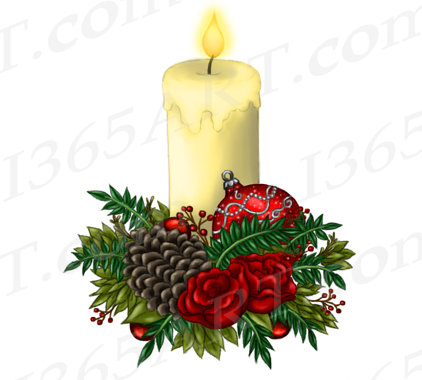 Png Christmas.Christmas Candle Clipart Watercolor Candle Png Graphic