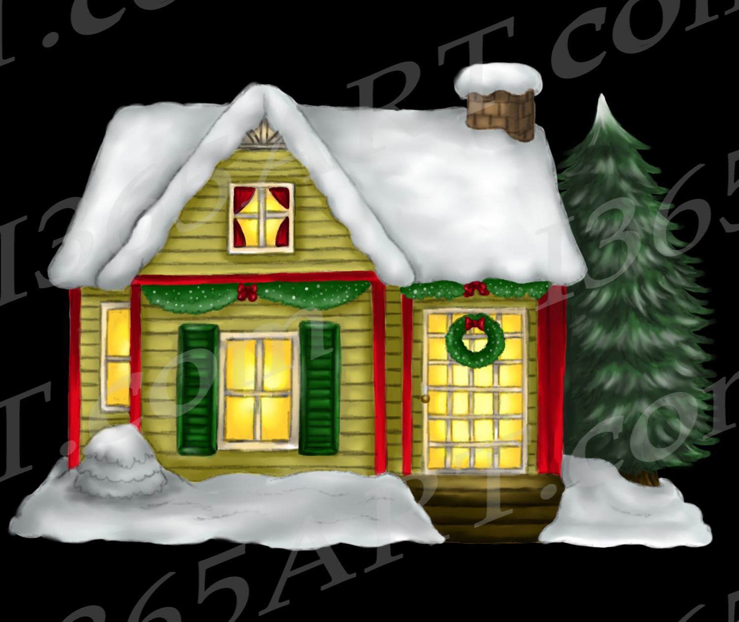 Christmas House.Christmas House Clipart Watercolor House Clip Art Png