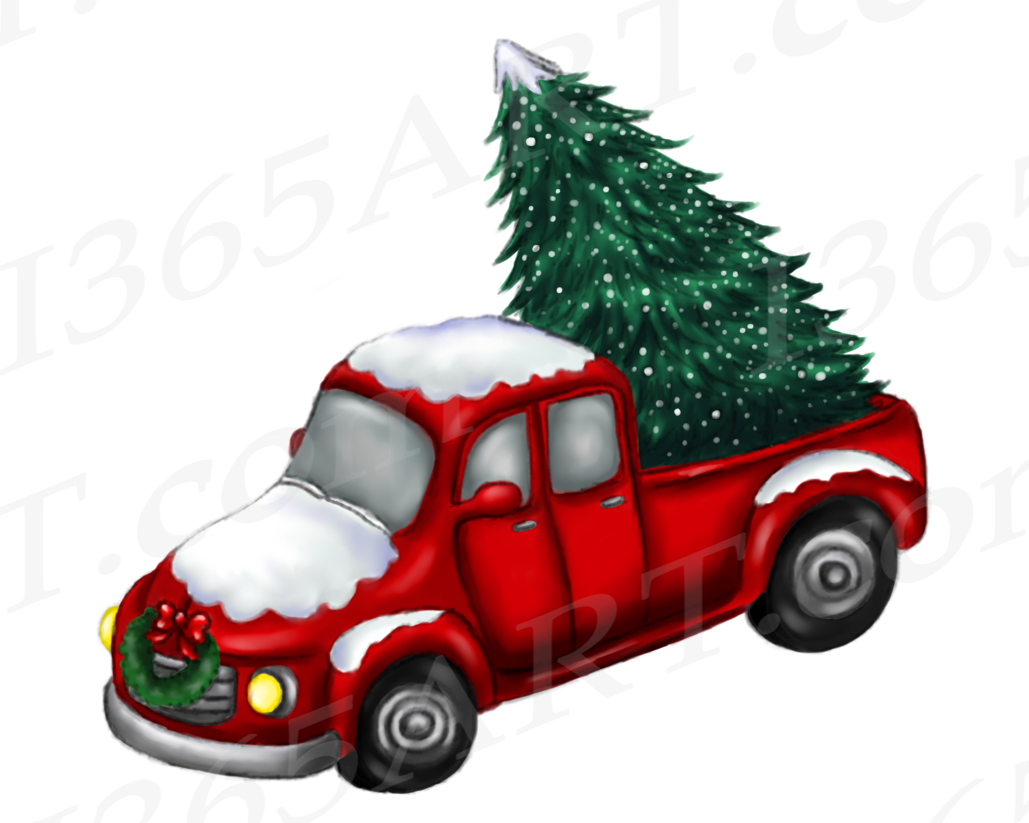 Red Christmas Truck.Christmas Truck Clipart Watercolor Red Truck Png