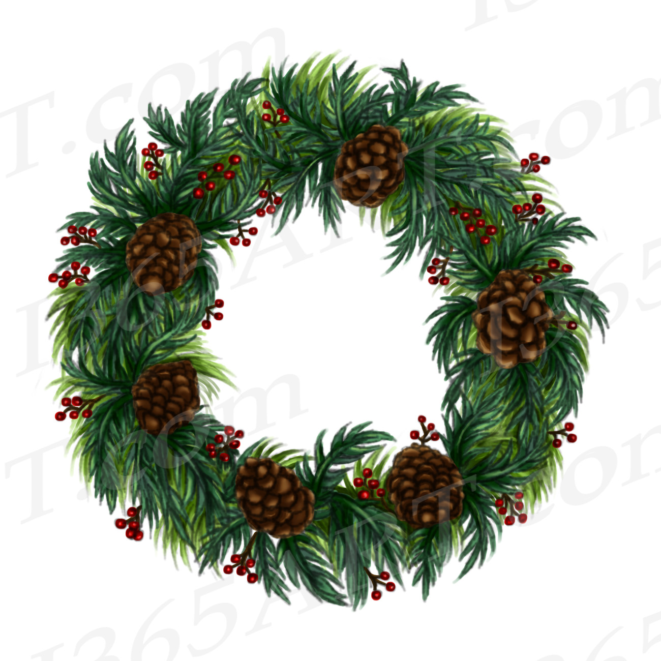 Watercolor Christmas Wreath Png.Winter Wreath Clipart Watercolor Wreath Clip Art Png