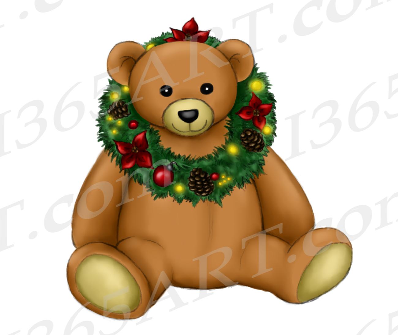 Christmas Teddy Bear Clipart Watercolor Teddy Bear Png I 365 Art