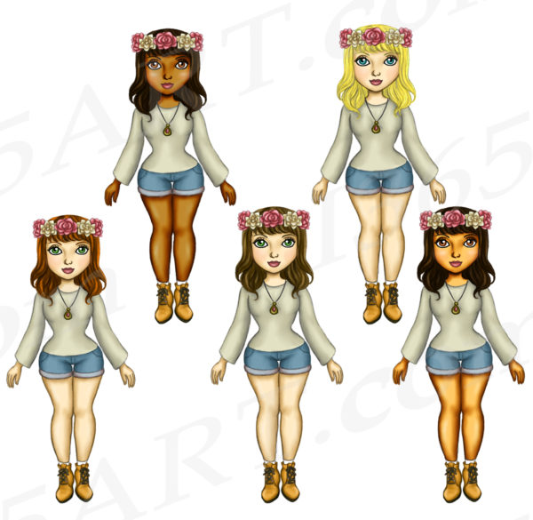 Rose Wreath Girls Clipart