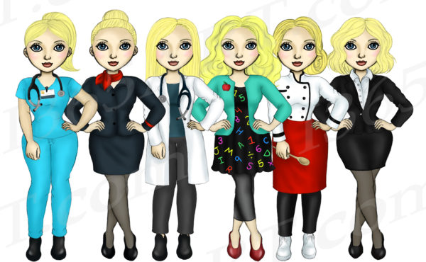 Girls At Work Clipart Blonde Fashion Dolls PNG