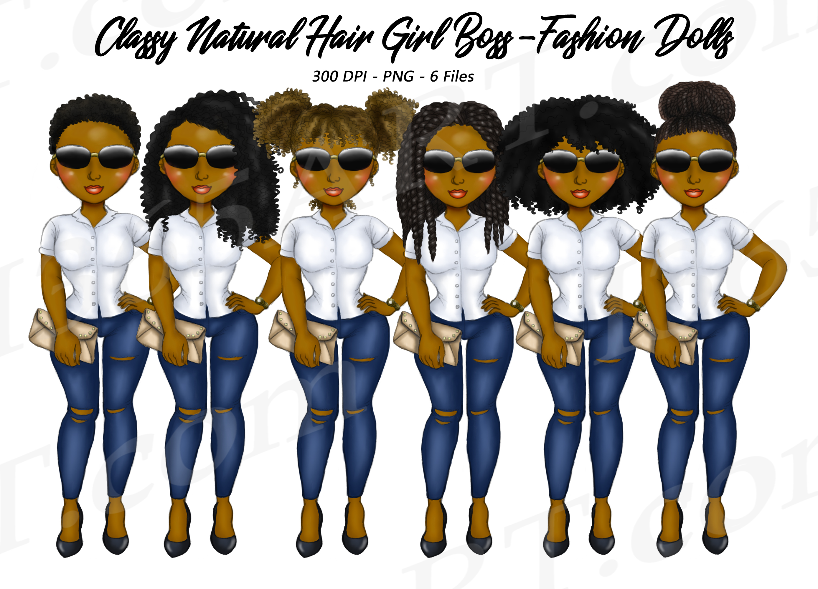 Black Girl Boss Clipart Natural Hair Fashion Dolls Png