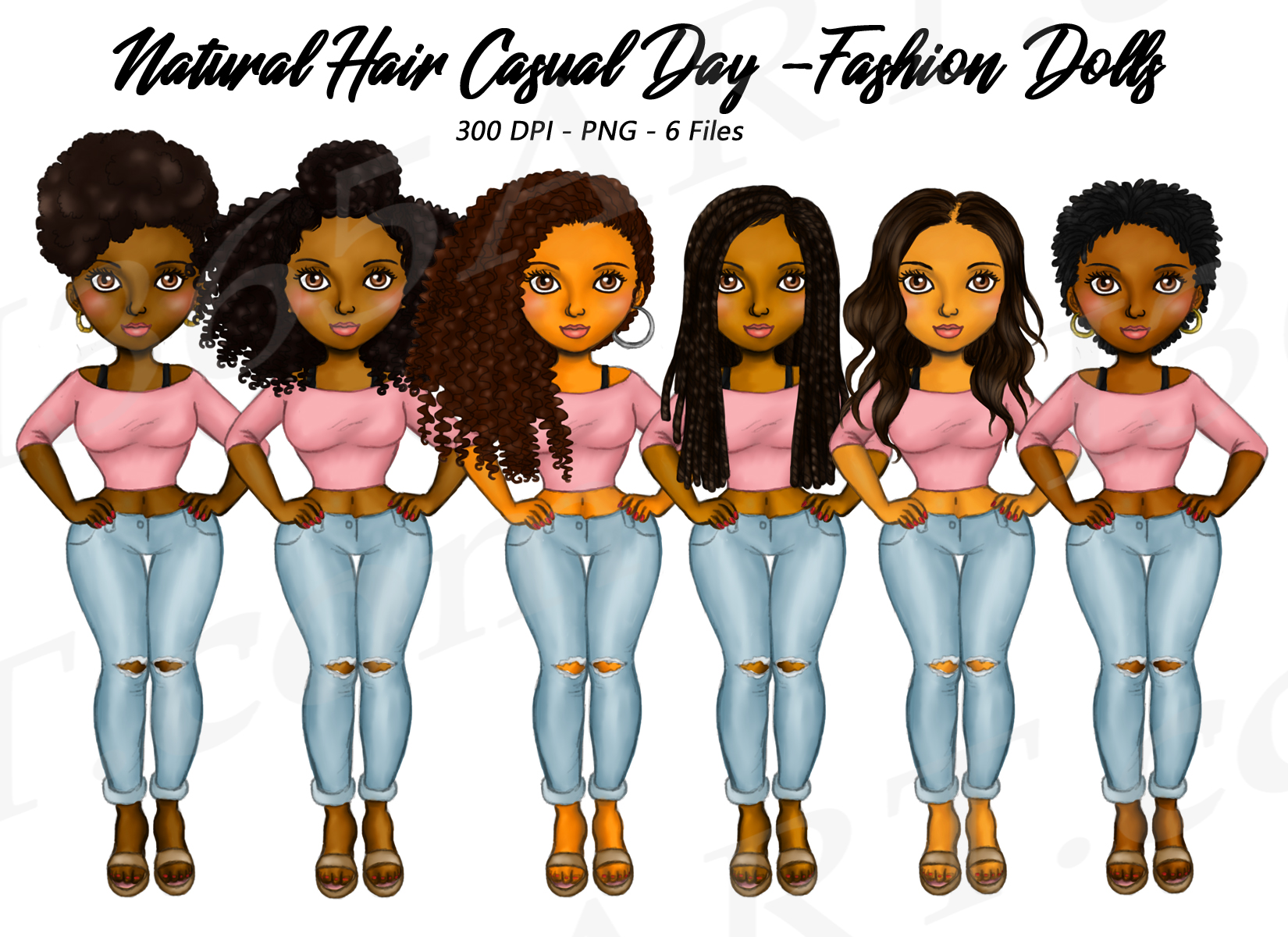 Black Fashion Girl Clipart Natural Hair Fashion Dolls Png