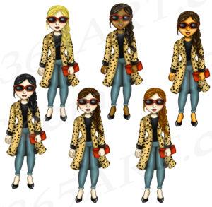 Leopard Print Girls Clipart