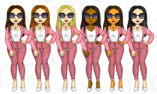 Simply Pink Fashion Girls Clipart