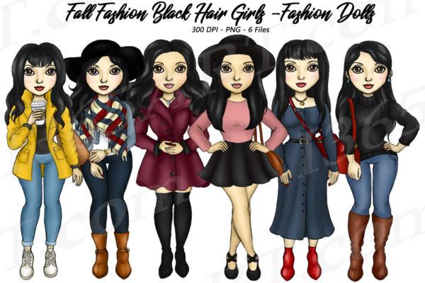 Fall Fashion Girls Clipart
