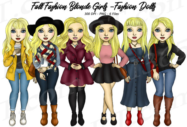 Fall Fashion Girls Clipart
