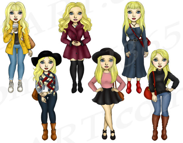 Fall Fashion Girls Clipart blonde