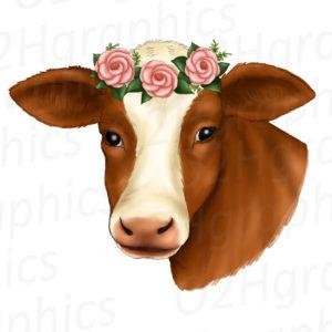Brown Cow Flower Wreath Clipart