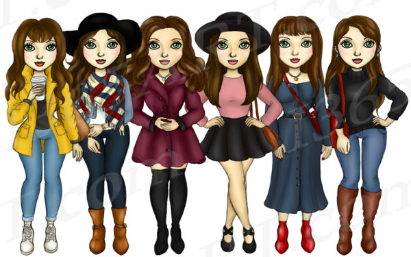 Fall Fashion Girls Clipart brunette