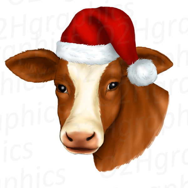 Brown Christmas Cow Clipart