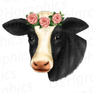Cow Flower Wreath Clipart