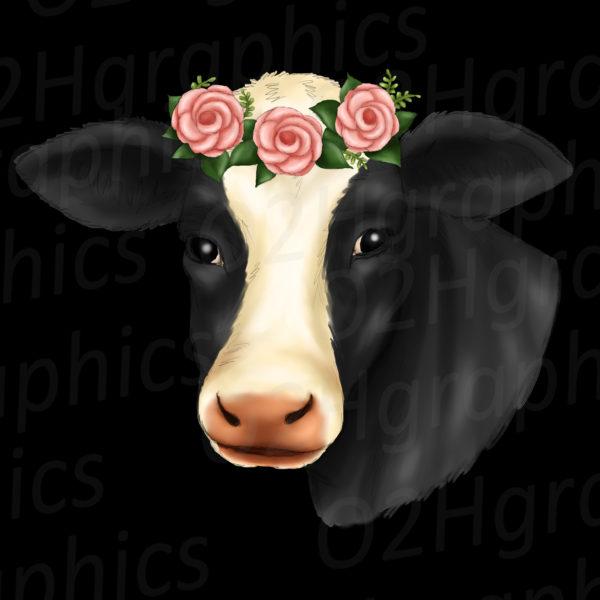 Cow Flower Wreath Clipart