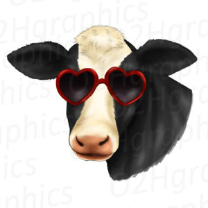 Cow Wearing Sunglasses Clipart