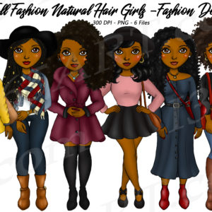Fall Fashion Black Girls Clipart