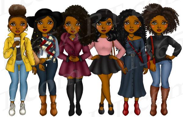 Fall Fashion Black Girls Clipart