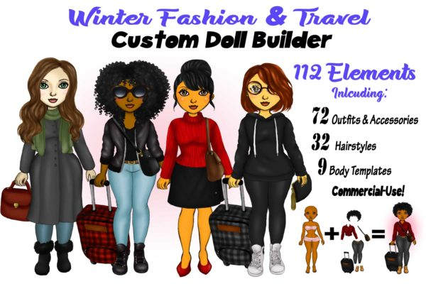 Winter Fashion & Travel Clipart