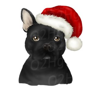 Black Christmas French Bulldog Clipart