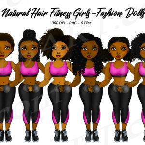 Fitness Black Girls Clipart