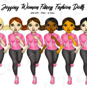 Jogging Girls Clipart