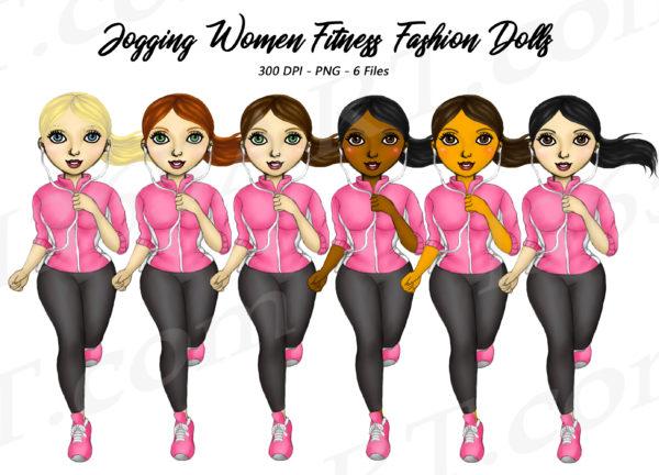 Jogging Girls Clipart
