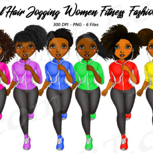 Jogging Black Girls Clipart