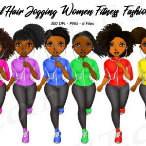 Jogging Black Girls Clipart
