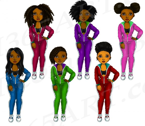 Colorful Tracksuit Black Girls Clipart