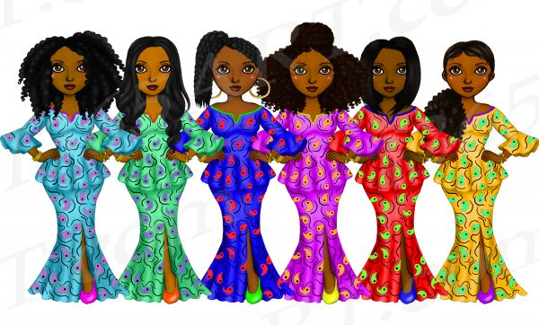 African Fashion Girls Clipart