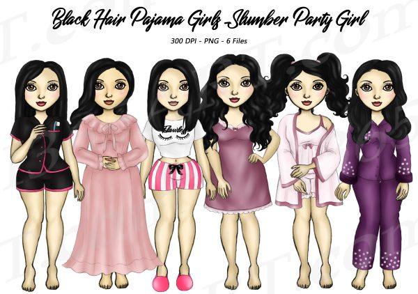 Black Hair Pajama Girl Clipart