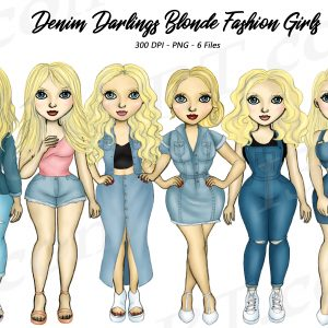 Blonde Woman Denim Clipart