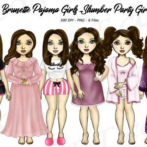 Brunette Pajama Girl Clipart