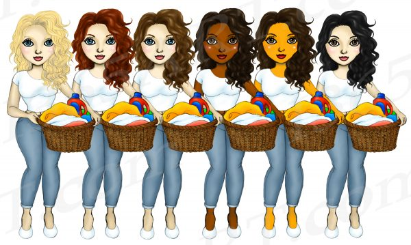 Laundry Girls Clipart
