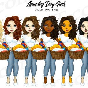 Laundry Girls Clipart